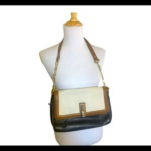 Emma Fox Tri Color Leather Purse gold chain purse